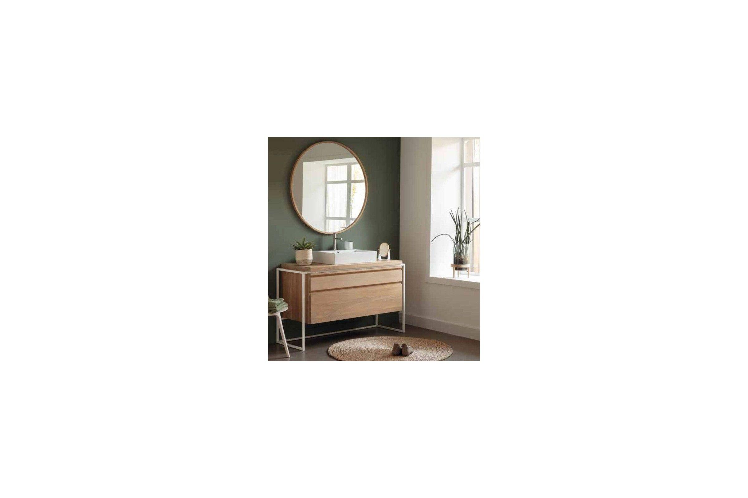 Meuble vasque en ch ne avec tiroir et structure m tallique noire ou blanche - Vasque avec meuble ...