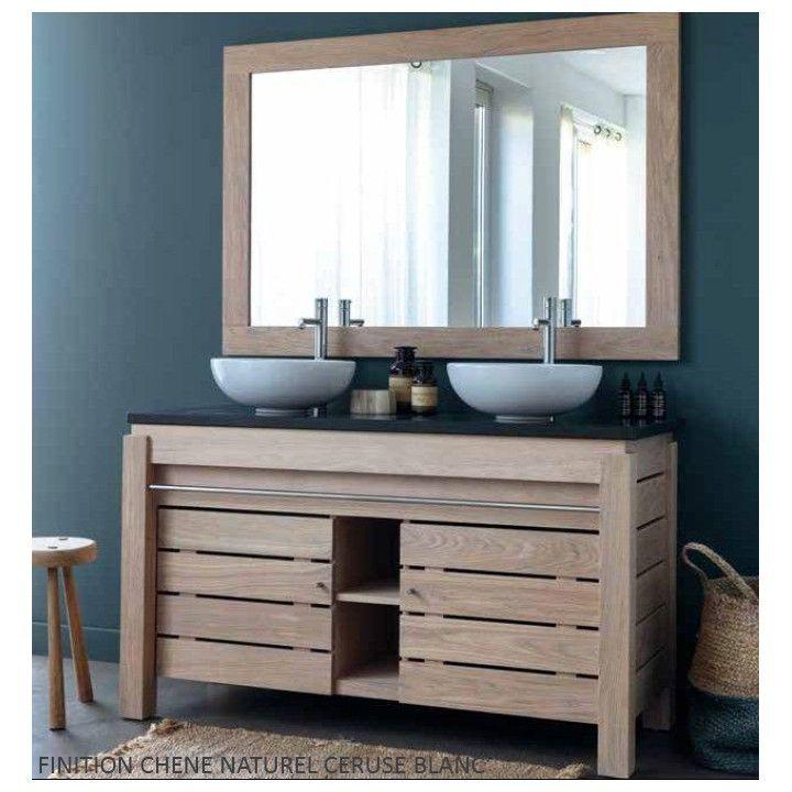 Meuble double vasque en chêne massif, 2 portes , gamme Origin de Line Art