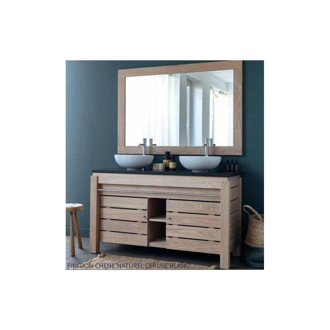 Meuble double vasque en chêne massif 133 cm, 2 portes , Line Art - Origin
