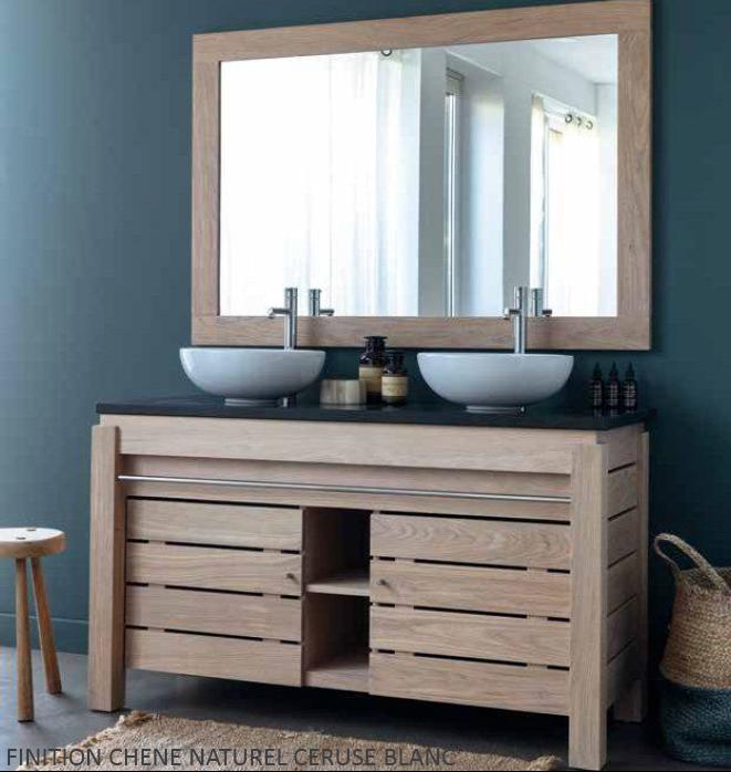Meuble double vasque en chêne massif 133 cm, 2 portes , Origin