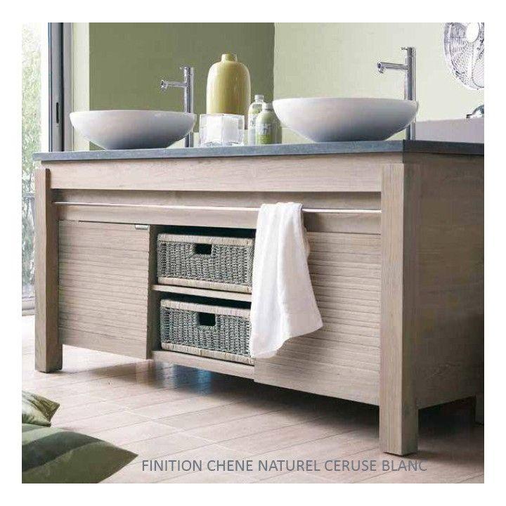 Meuble vasque en chêne massif 165 cm, 2 portes , Line Art - Variation by Origin
