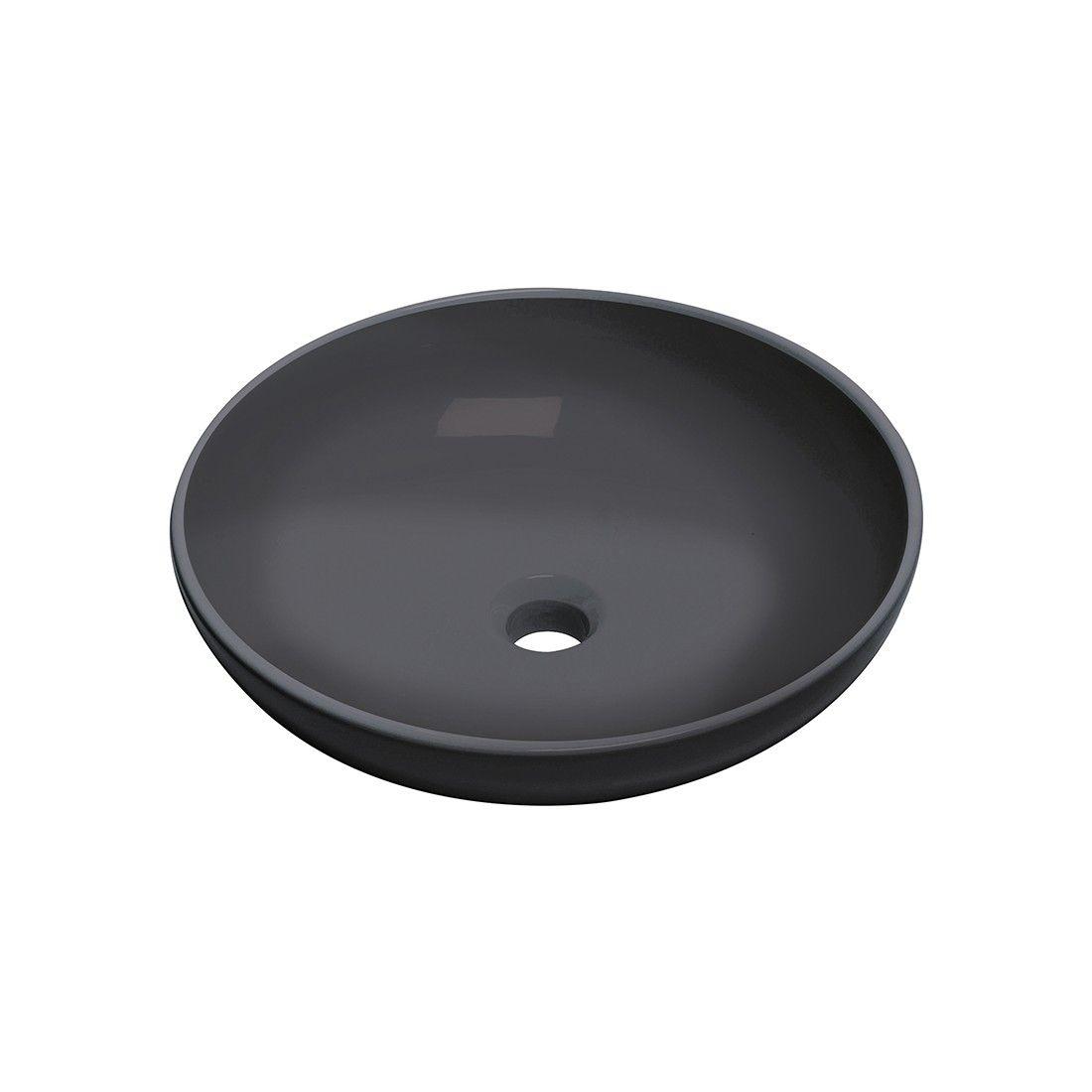 Vasque à poser en céramique noir mat 46 cm, modèle Tondo