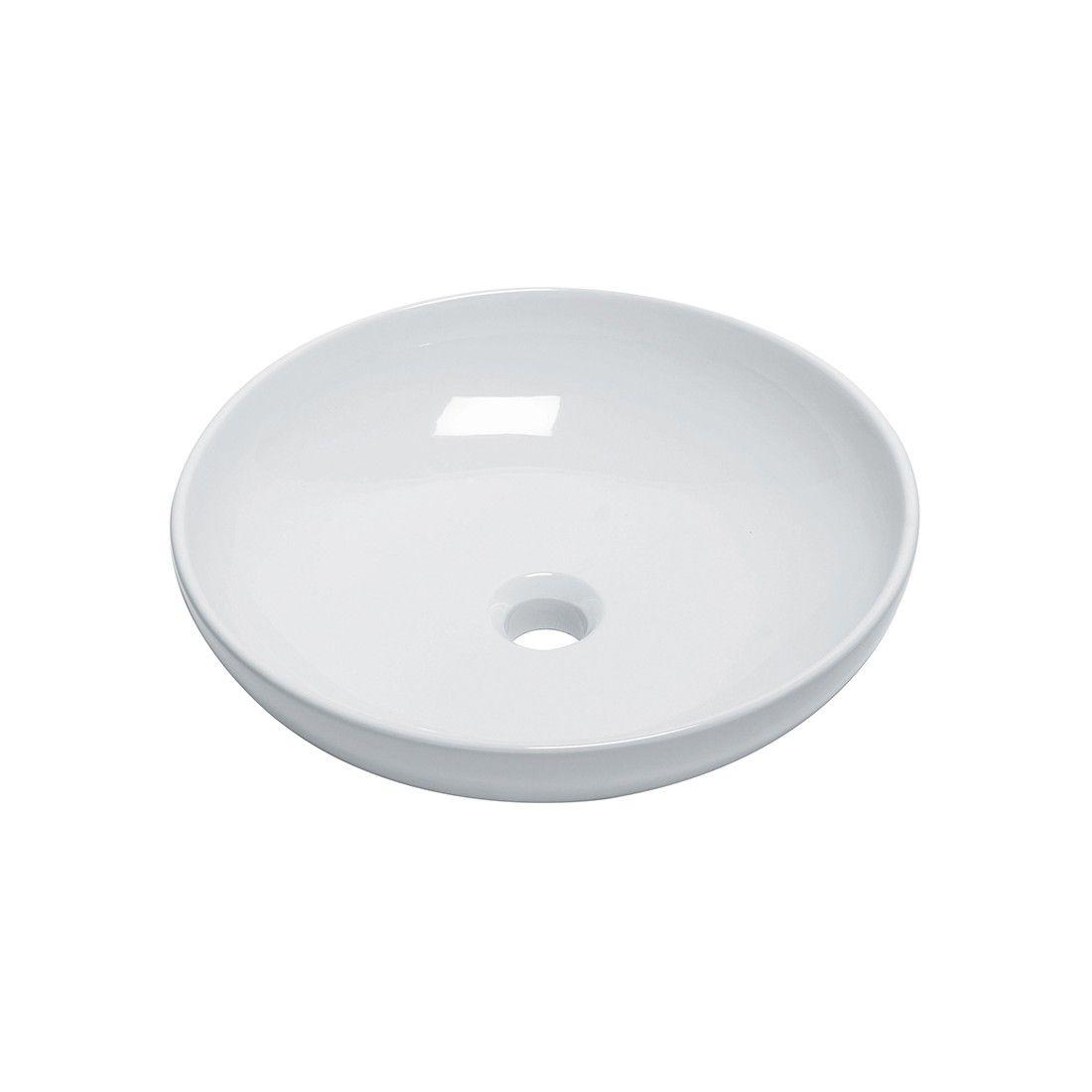 Vasque à poser ronde 46 cm en céramique blanche modèle tondo