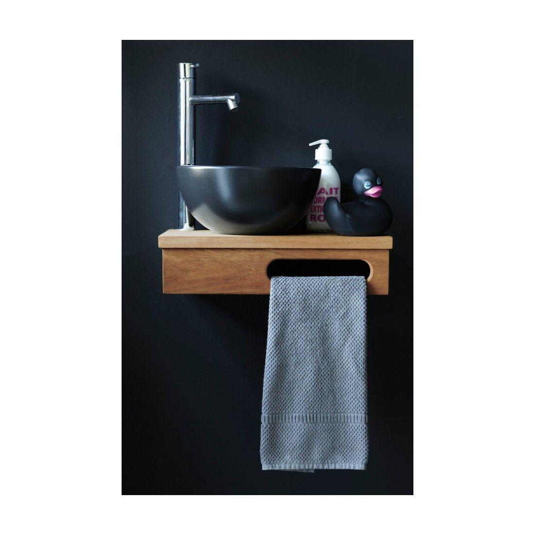 Vasque lave mains noire et ronde 25,5 cm en céramique