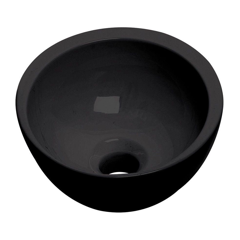 Vasque lave mains ronde 25,5 cm noire mat, LINEART