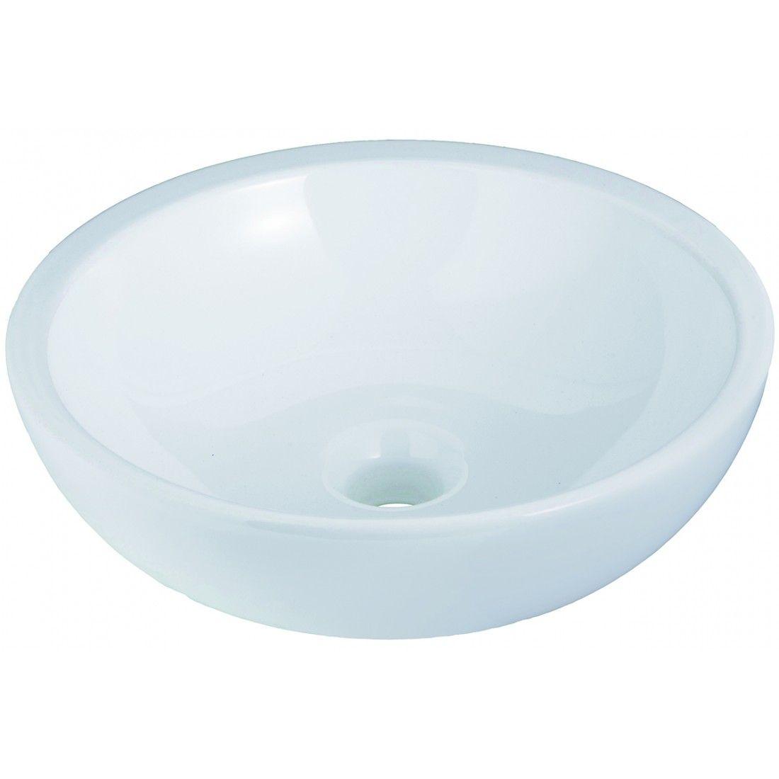 Vasque à poser ronde 38 cm en céramique blanche ou noire, Spot de Line Art