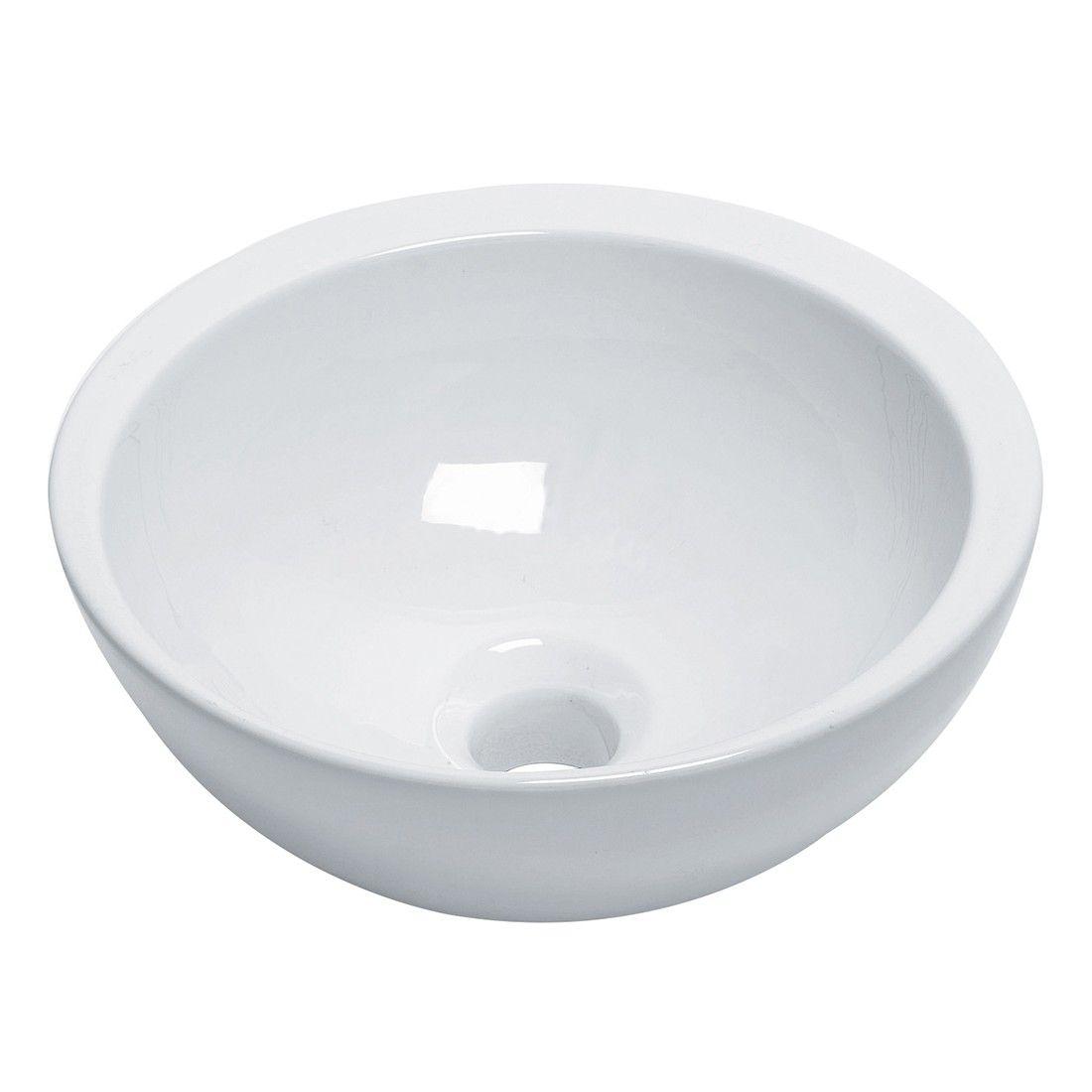 Vasque lave mains ronde 32 cm en céramique blanche ou noire, Spot