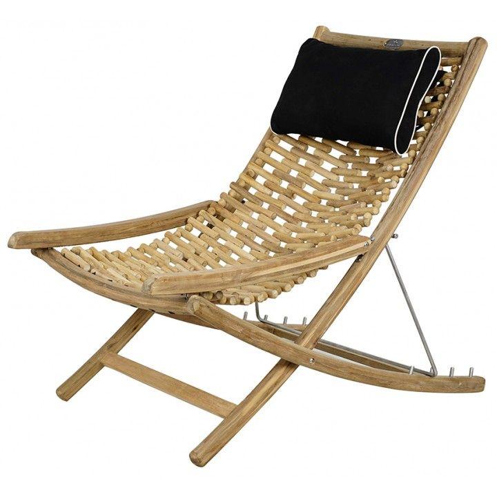 Chaise longue en teck recyclé