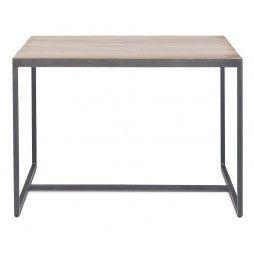 Table basse en métal avec un plateau fin en teck 50x50 cm