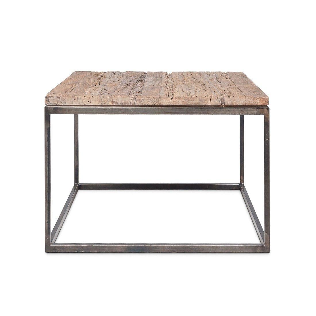 Table basse en métal avec un plateau en teck 50x50 cm