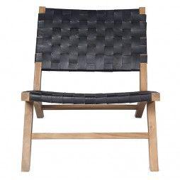 Fauteuil de salon en teck et cuir noir