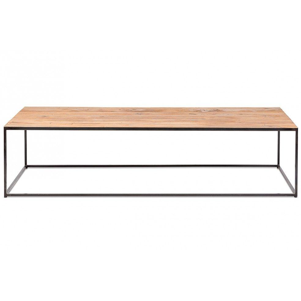 Table basse en métal et plateau en teck ancien 120x60 cm, Erosion