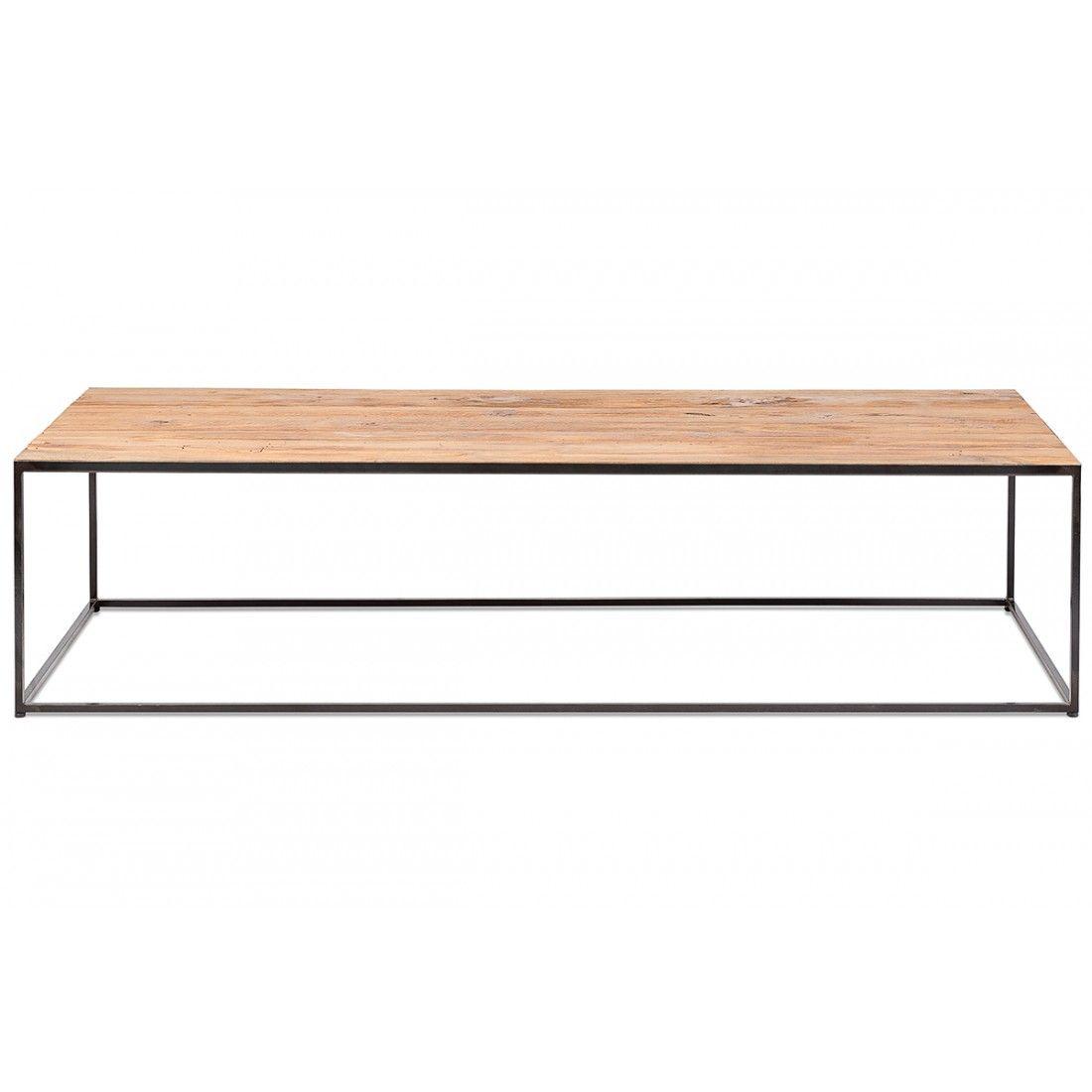 Table basse en métal et plateau en teck ancien 120x60 cm