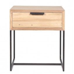 Petite table en métal et teck avec tiroir 40x40 cm