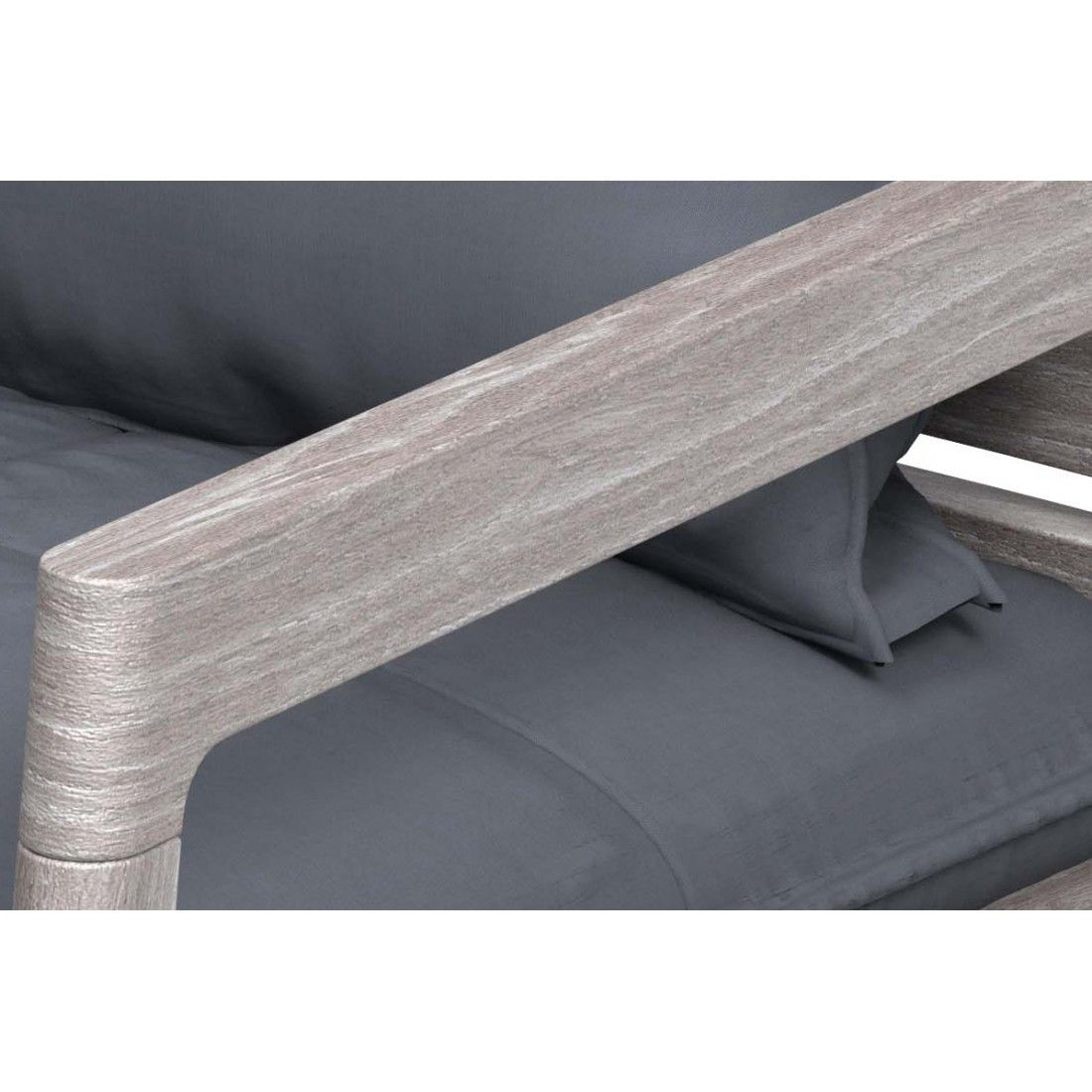 Fauteuil en teck FSC vintage grey avec coussins en tissu Sunbrella gris foncé