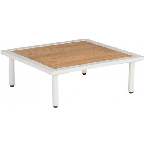 Table basse carrée 70 cm alu blanc crème et bois de roble, salon Beach