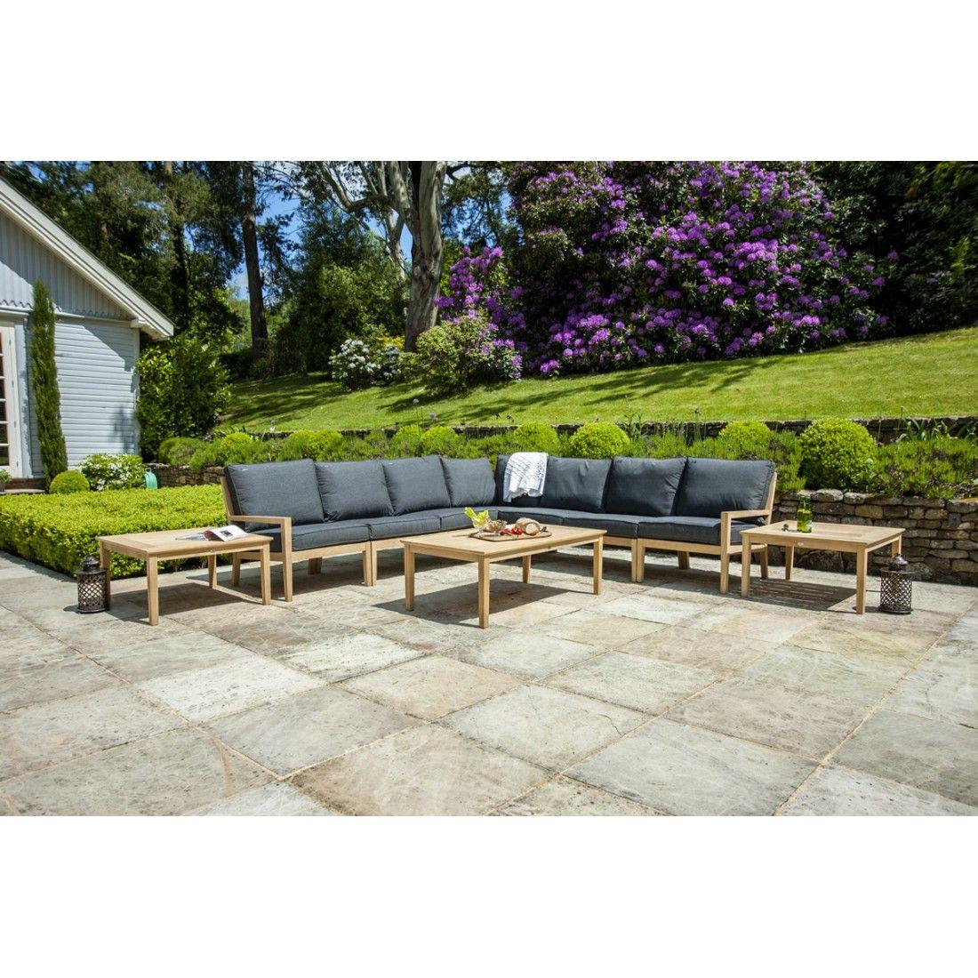 Salon de jardin en bois de roble Tivoli, module d'angle