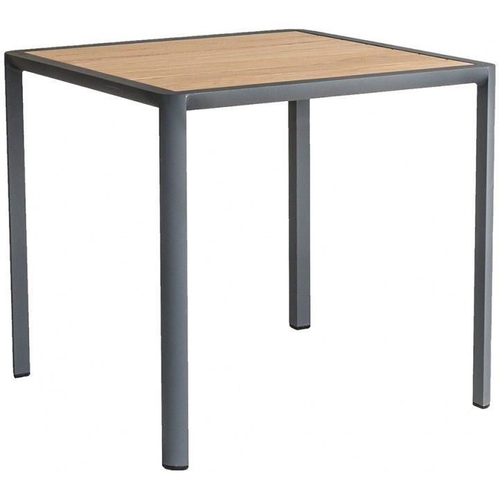 Table carrée alu et roble 76cm, Fresco