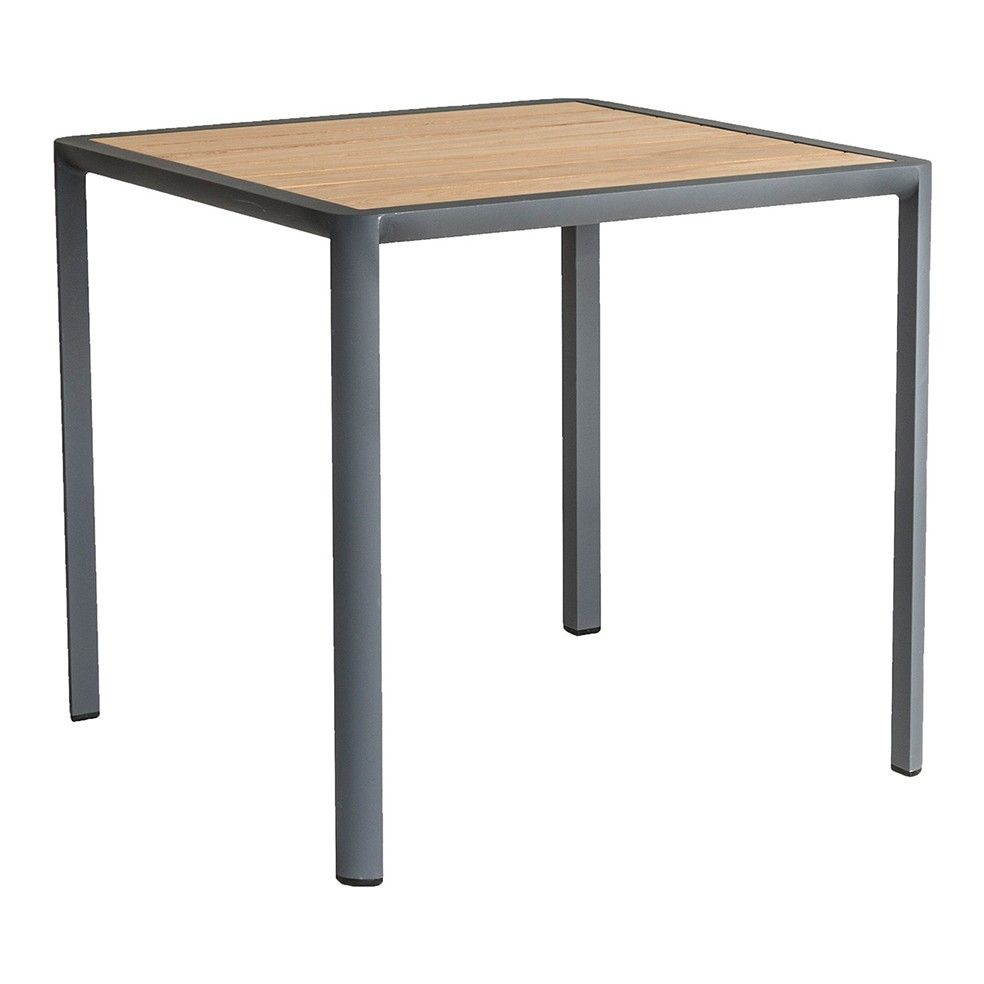 Table carrée 76 cm en alu gris ou blanc et roble, Fresco