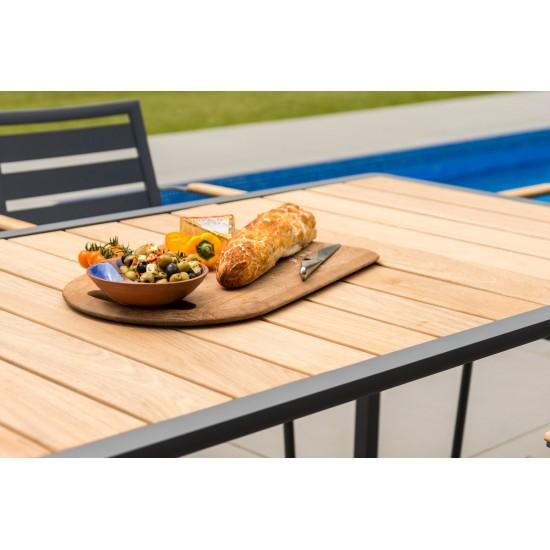Table de jardin 156 cm en alu gris ou blanc et bois de roble, Fresco