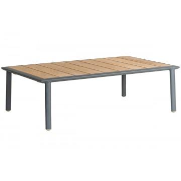 Table basse de jardin 97x60 cm en alu gris ou blanc et bois de roble, Fresco