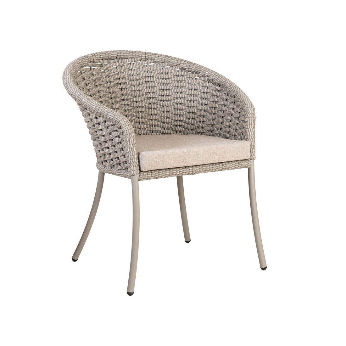 Grand fauteuil de table en alu et cordage tressé beige, Cordial de Alexander Rose
