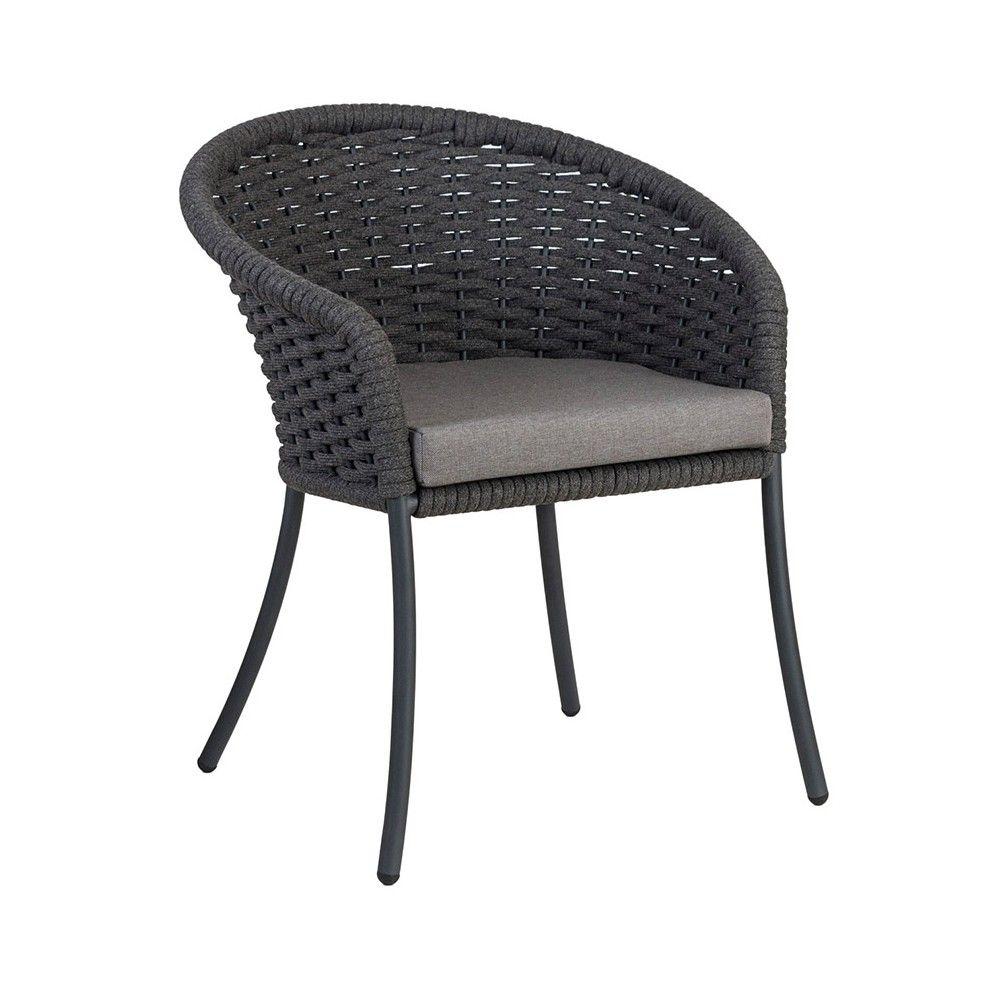 Grand fauteuil de table en alu et cordage tressé gris anthracite, Cordial de Alexander Rose