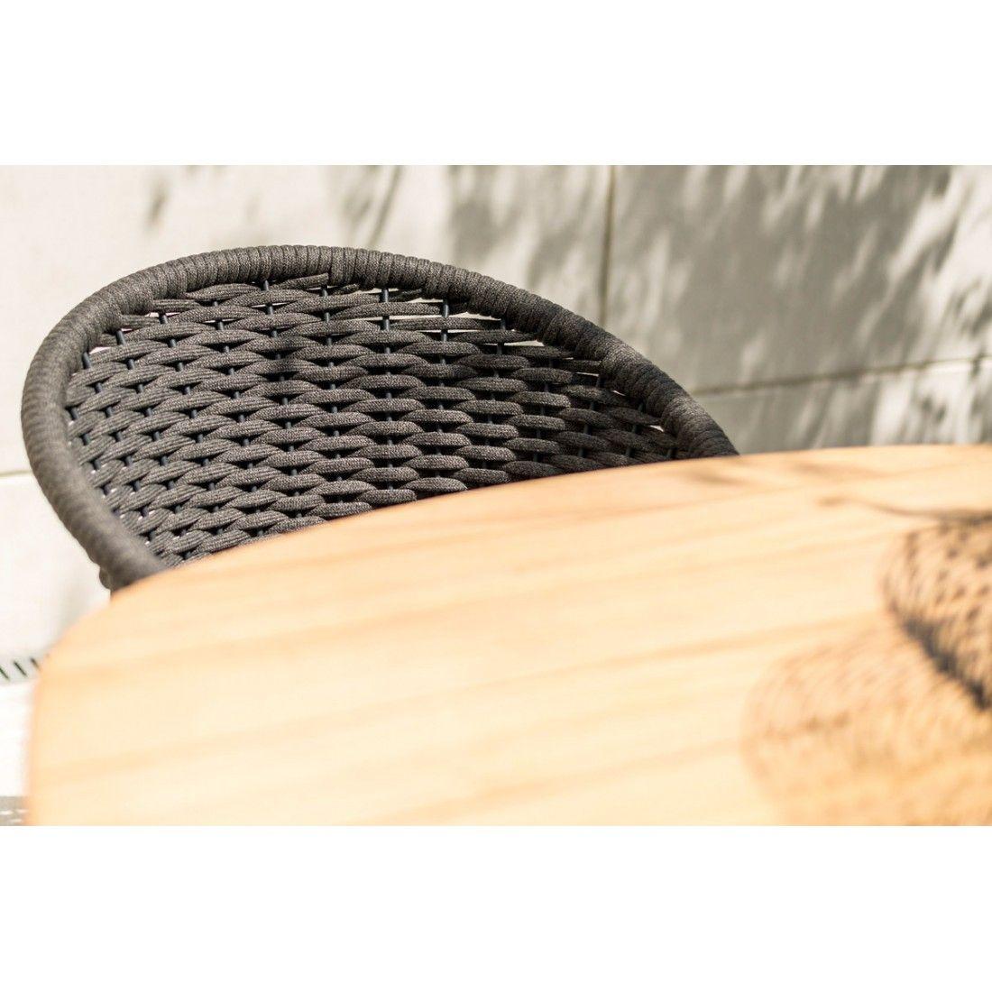 Fauteuil de table en alu et cordage tressé gris anthracite, Cordial de Alexander Rose
