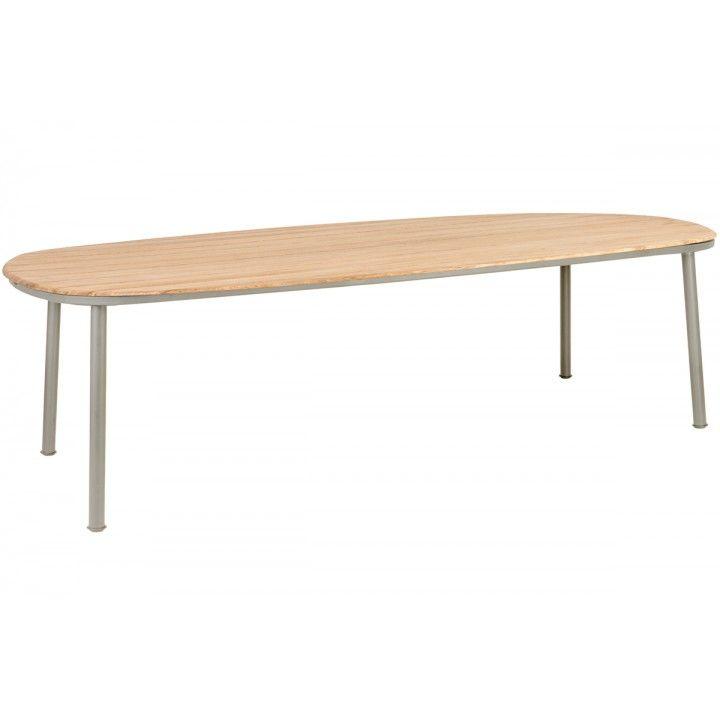 Table de jardin rectangulaire alu gris ou beige et bois de roble 200x120 cm