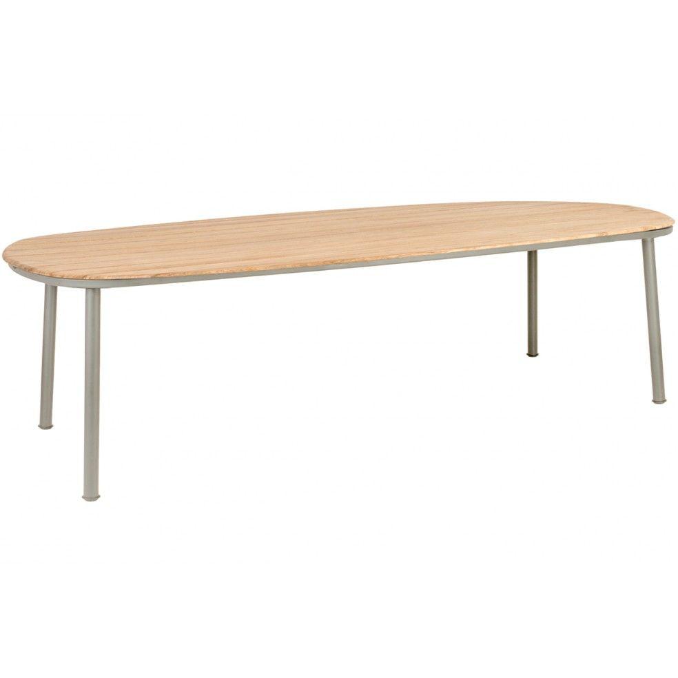 Grande table de jardin 270 x 120 cm alu gris ou beige et bois de roble, Cordial