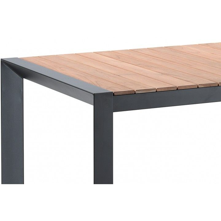 Table en teck massif et alu noir 202 cm, Braga