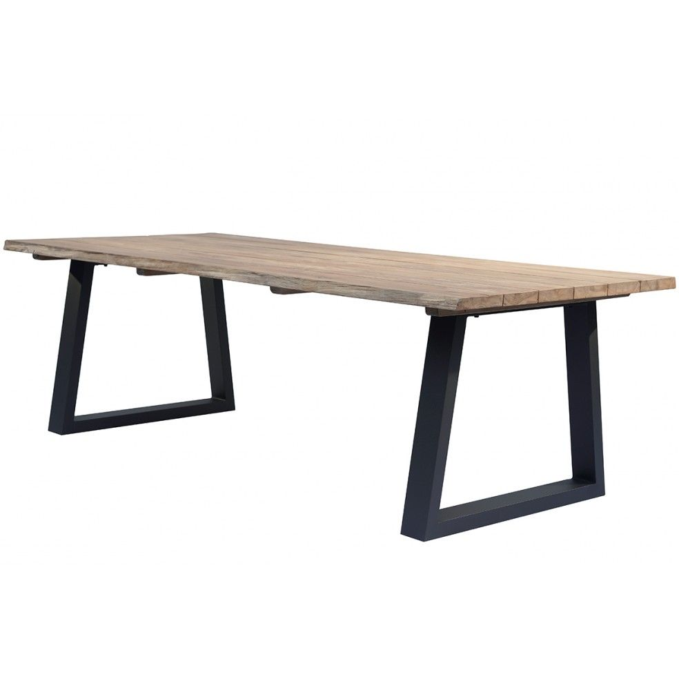 Table en teck massif et alu charcoal 240 cm, Tronc d'arbre