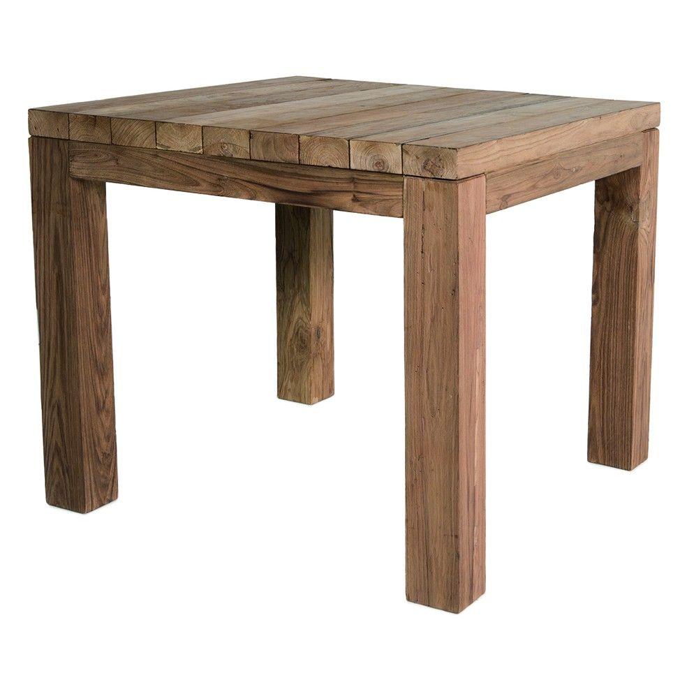 Table carrée 90 cm en vieux teck massif, Primitive