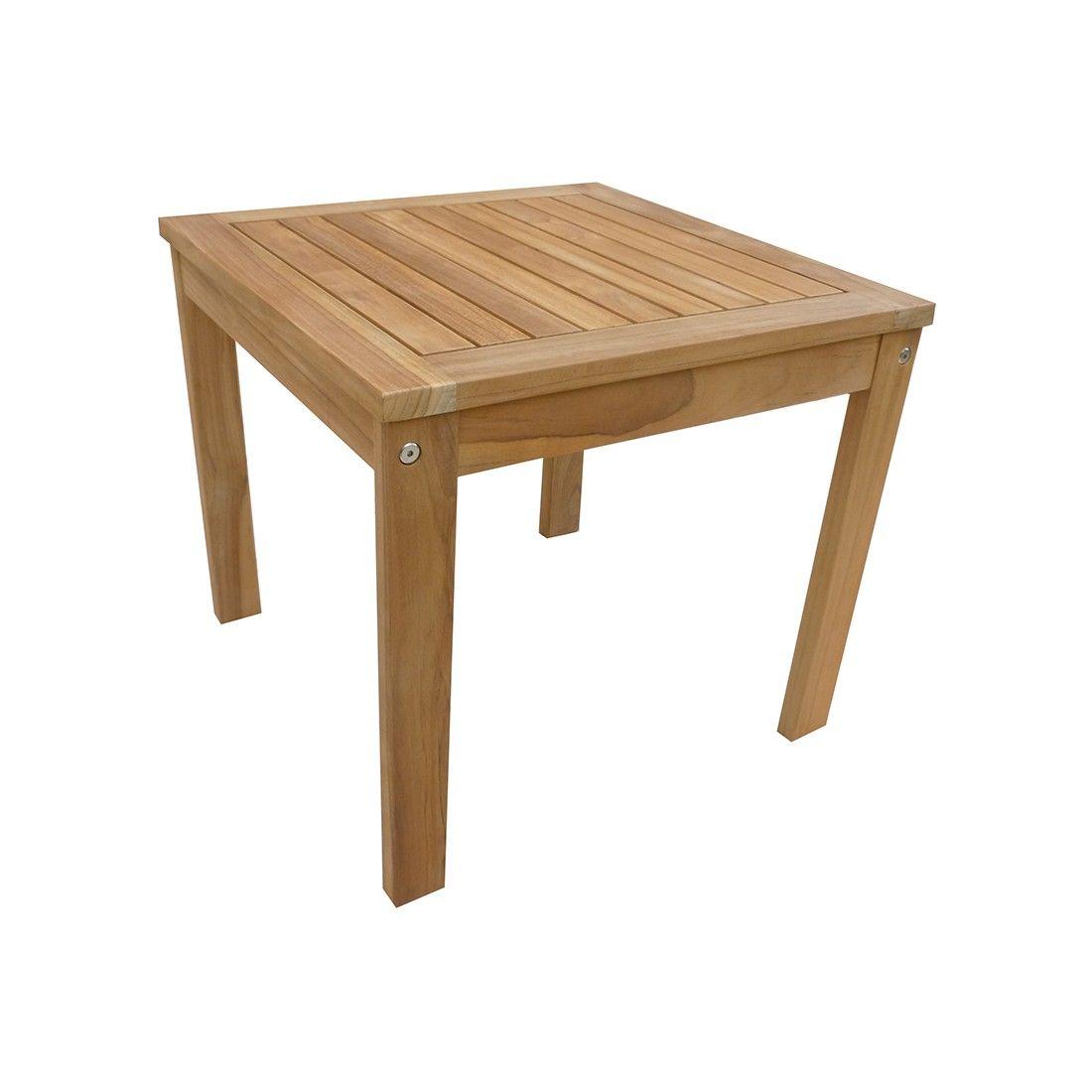 Petite table basse carrée 50 cm en teck massif, Sevilla