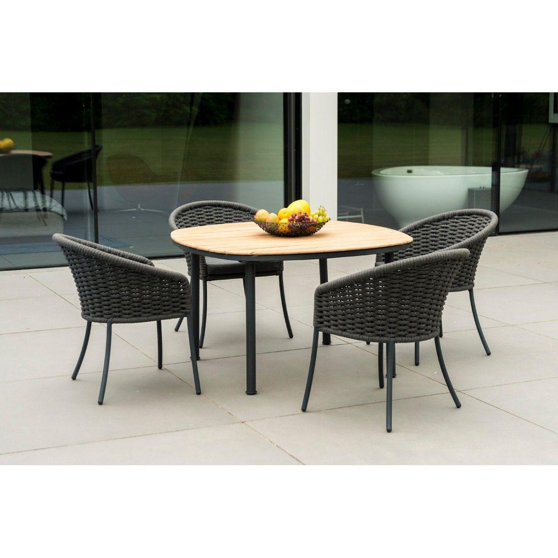 Table de jardin 120 x 120 cm en alu gris ou beige et bois de roble, Cordial
