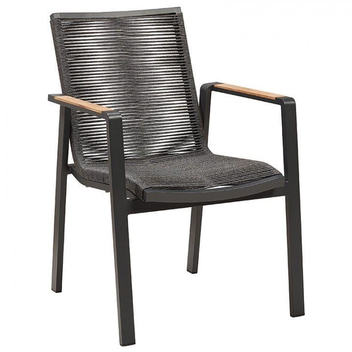 Large fauteuil de table pour le jardin en alu et tissu Olefin avec accoudoirs en teck, empilable, Moreno de Gescova