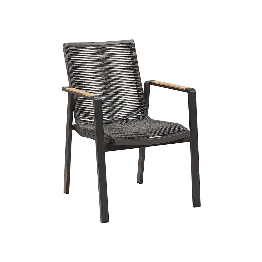 Large fauteuil de table de jardin en alu et tissu Olefin avec accoudoirs en teck, empilable, Moreno