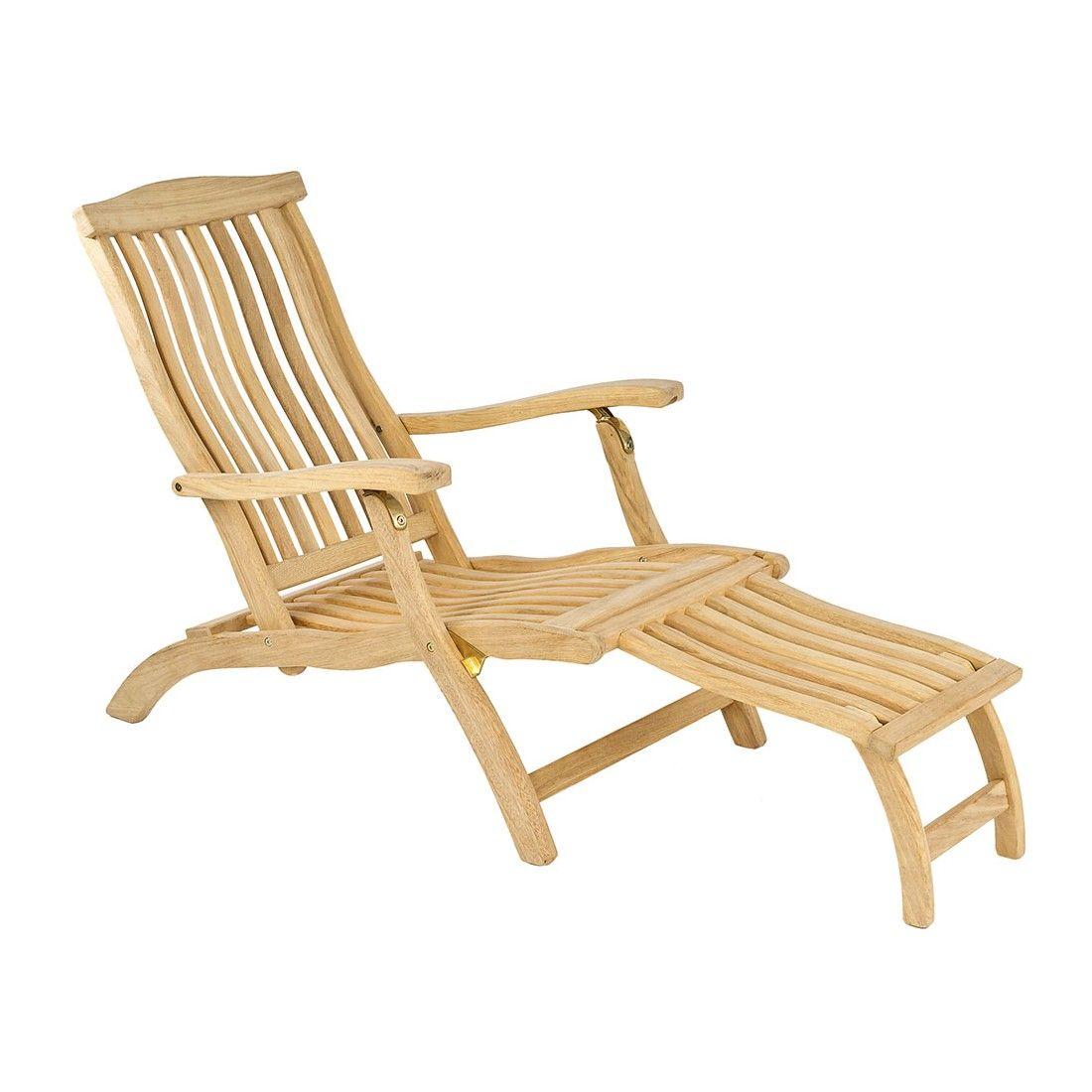 Chaise longue en bois massif, haut de gamme
