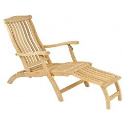 Large chaise longue en bois massif, haut de gamme