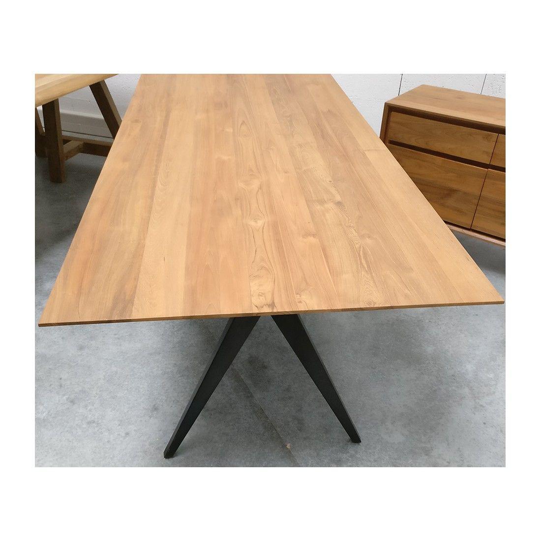 Table en teck massif 240x100 cm, majestueuse