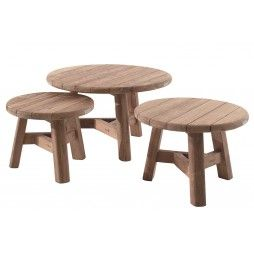 Table de jardin basse et ronde en teck recyclé, Ferdi