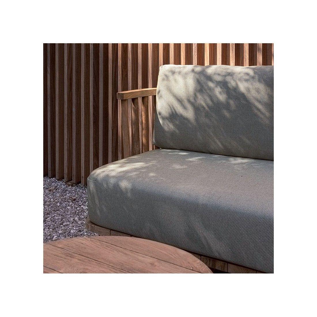 Canapé 2 places en teck recyclé, avec coussins en tissu Sunbrella ton vert oxydé