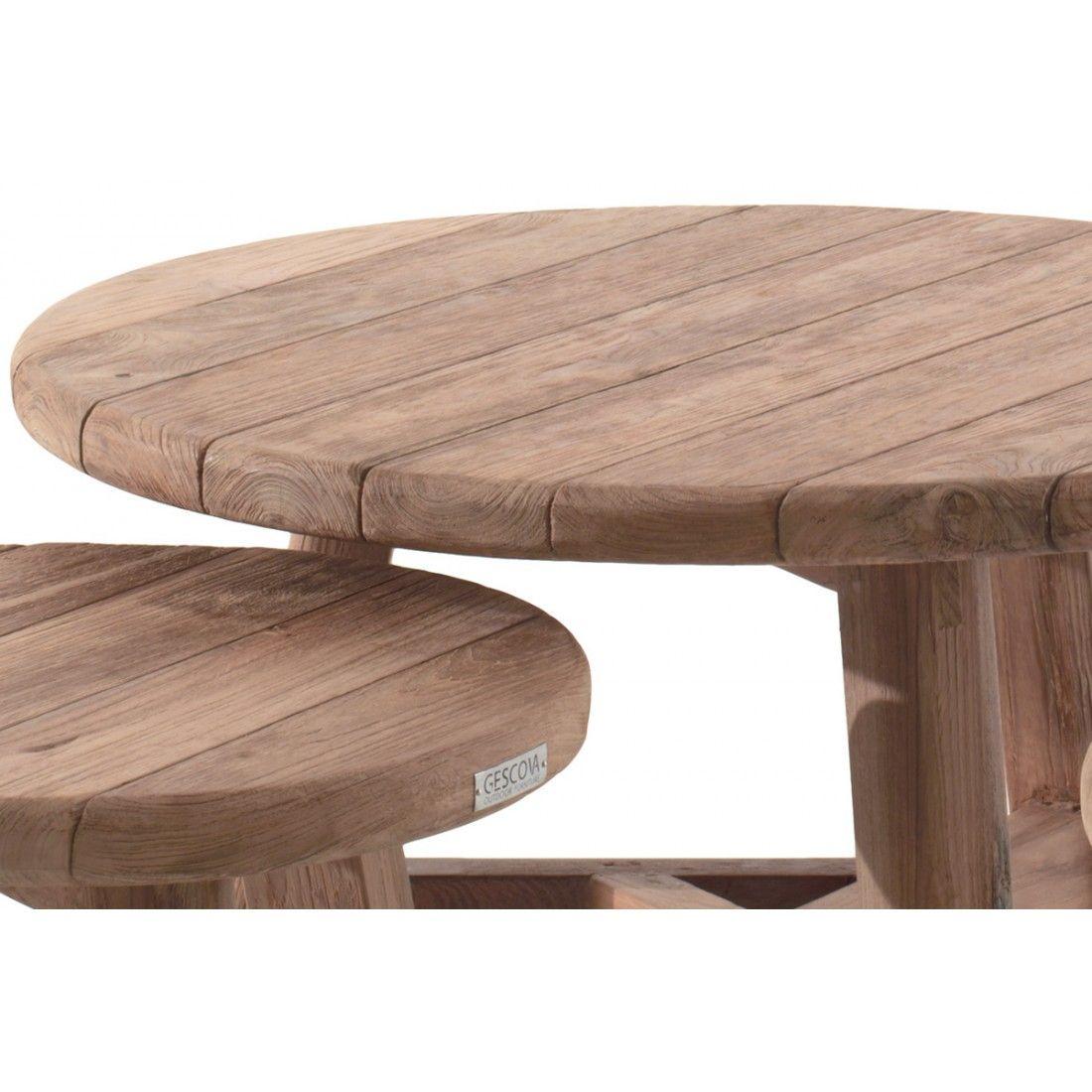Table de jardin basse et ronde en teck recyclé