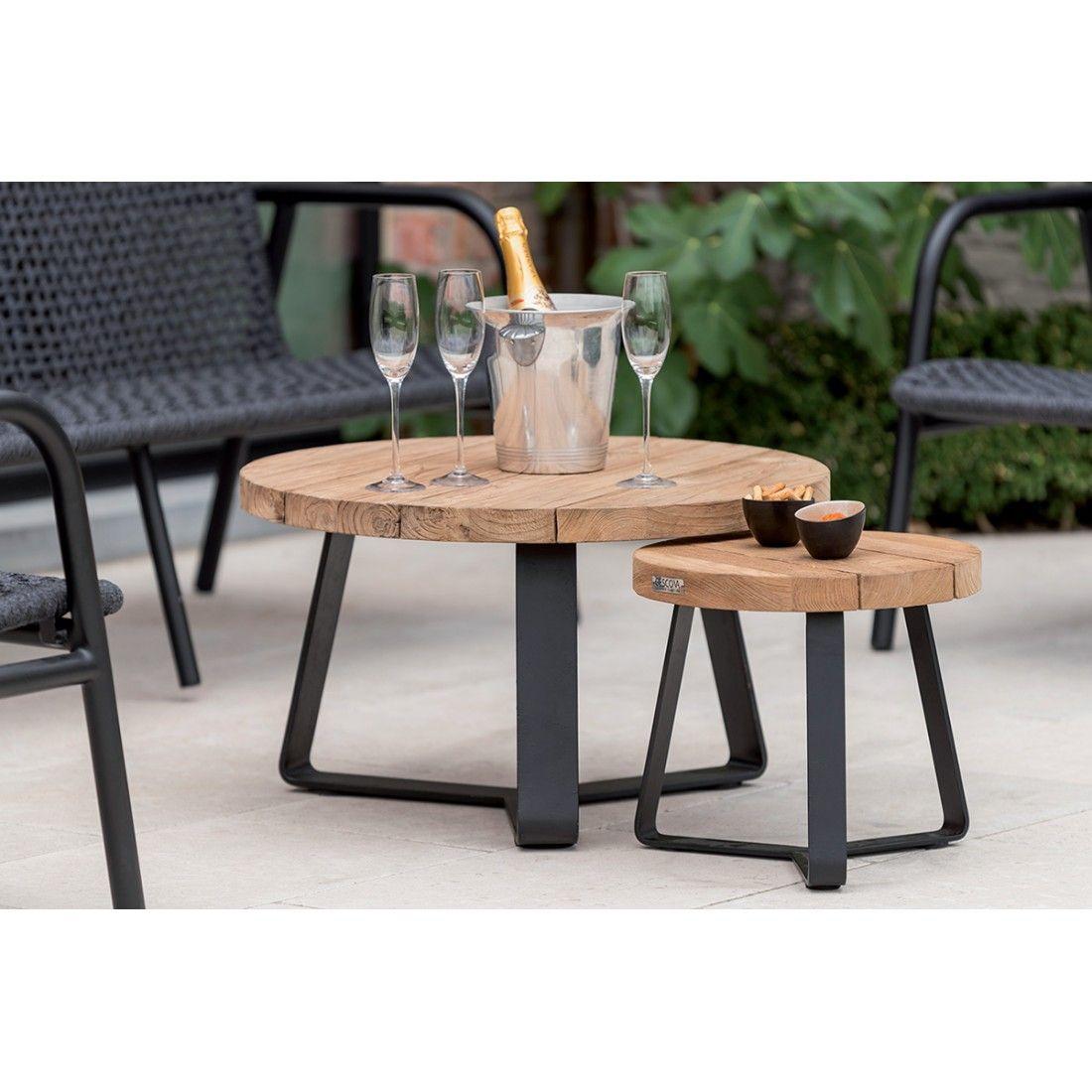 Table de jardin basse et ronde en teck recyclé et acier