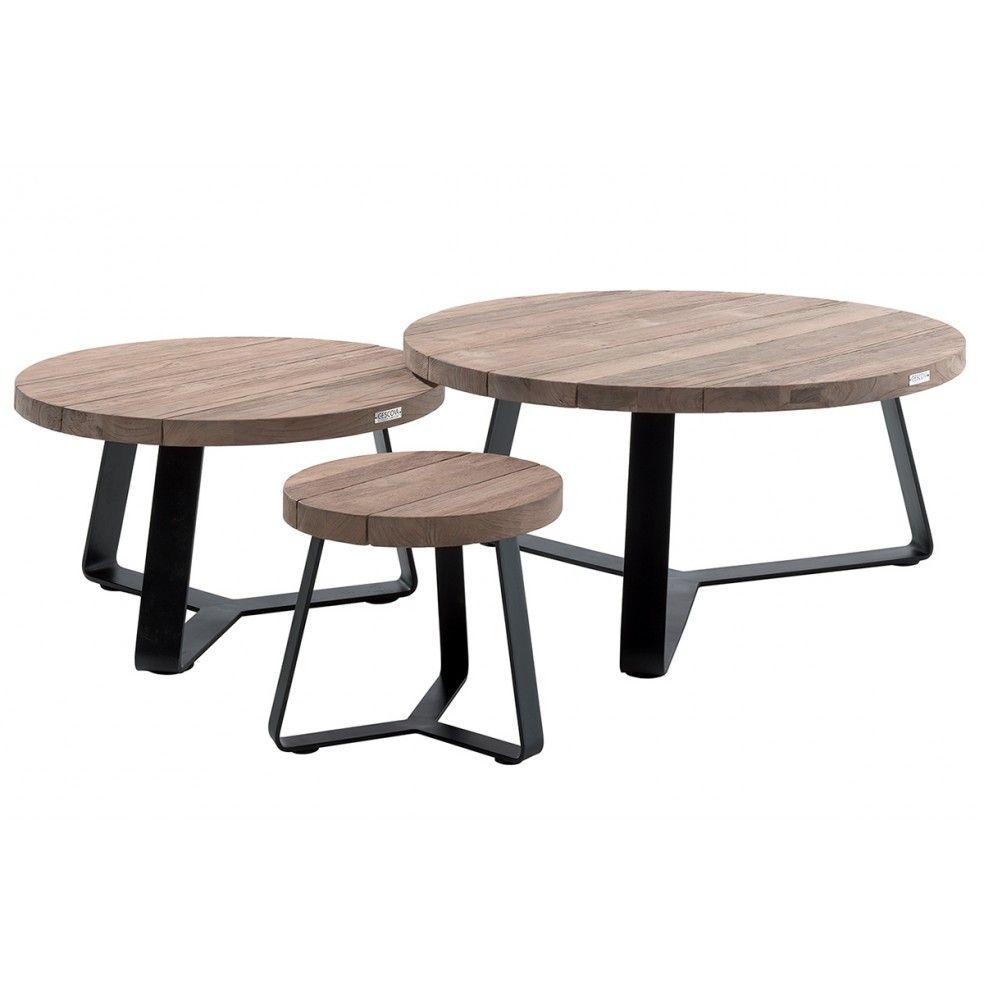 Table de jardin basse et ronde en teck recyclé et acier, Margo