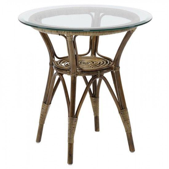 Table ronde en rotin et double plateau