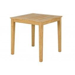 Table de jardin carrée en roble 80 cm, haut de gamme