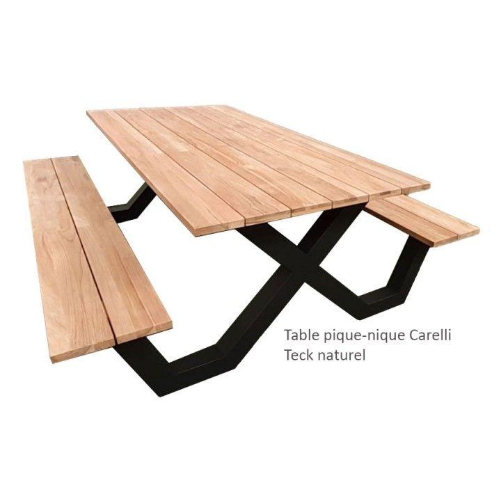Table pique-nique avec bancs en teck massif et pieds en aluminium, Carelli