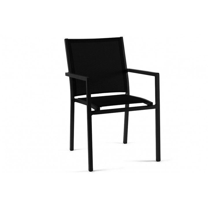 Chaise de jardin empilable en aluminium et textylène, Bari