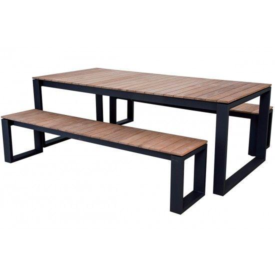 Table en teck 220 cm avec piètement en alu, Marcelo